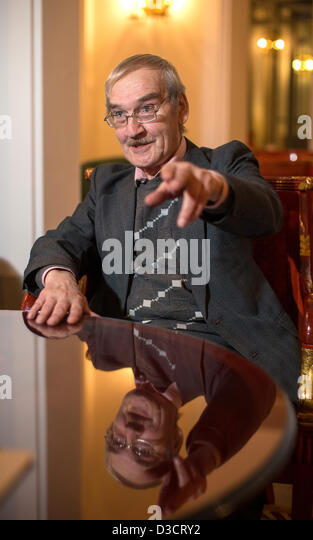 Stanislav Petrov, retired Soviet Lieutenant-Colonel, speaks during an interview in a hotel in Dresden, Germany, - Stock Image