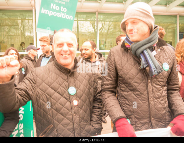 , Junior doctors  university college London picket line , - Stock Image