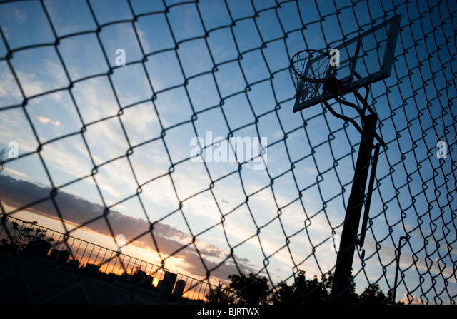 USA, Utah, Salt Lake City, basketball hoop against sky, low angle view - Stock Image