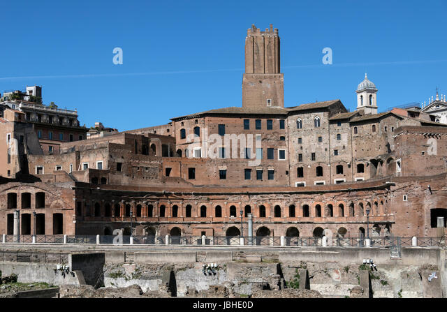 The ruins of Emperor Trajan's Market near the Roman Forum in the city of Rome, Italy. Thought to be the world's - Stock Image