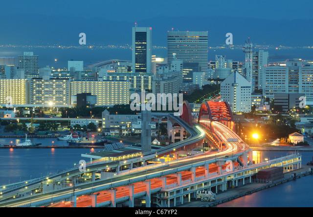 Port Island in Kobe, Japan. - Stock Image