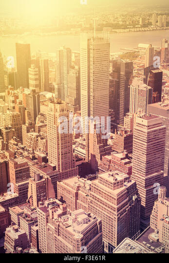 Vintage style picture of Manhattan at sunset, New York, USA. - Stock Image