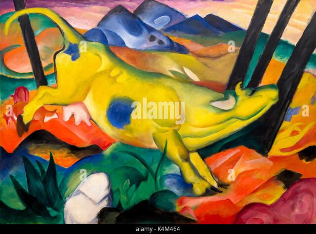 Yellow Cow, by Franz Marc, 1911, Solomon R. Guggenheim Museum, Manhattan, New York City, USA, North America - Stock Image
