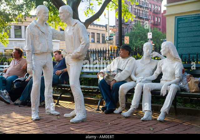 Gay Liberation Monument, Christopher Park, Manhattan, New York City, USA - Stock Image