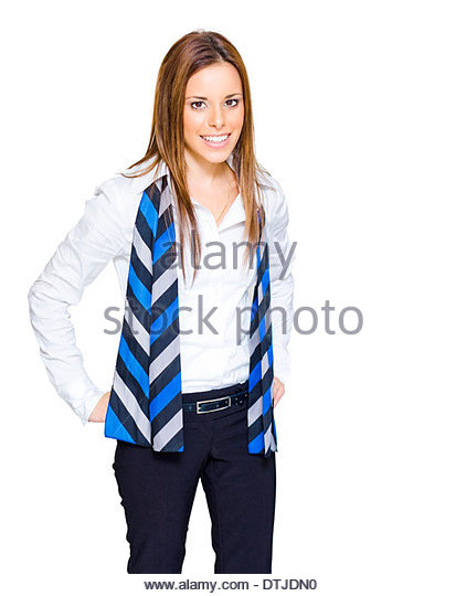 Isolated Studio Portrait Of A Confident Smiling Brunette Business And Career Driven Woman Standing In White Collar - Stock Image