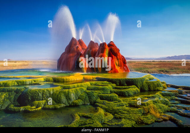 The continuous Fly Geyser of Fly Ranch is on private land in Nevada, USA - Stock Image