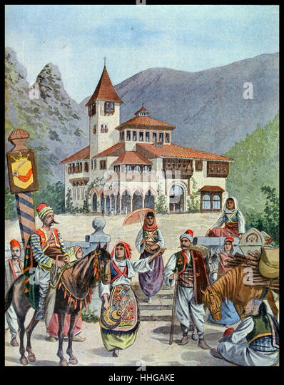 Illustration showing the Bosnian Pavilion, at the Exposition Universelle of 1900. - Stock Image