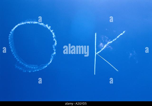 OK in the sky - Stock Image