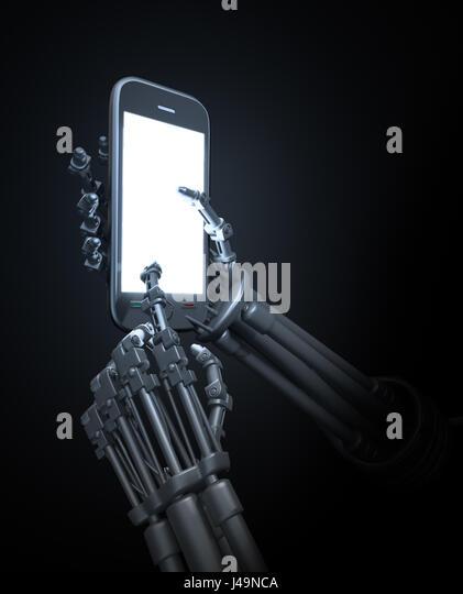 Robot holding a mobile phone - 3d illustration - Stock-Bilder