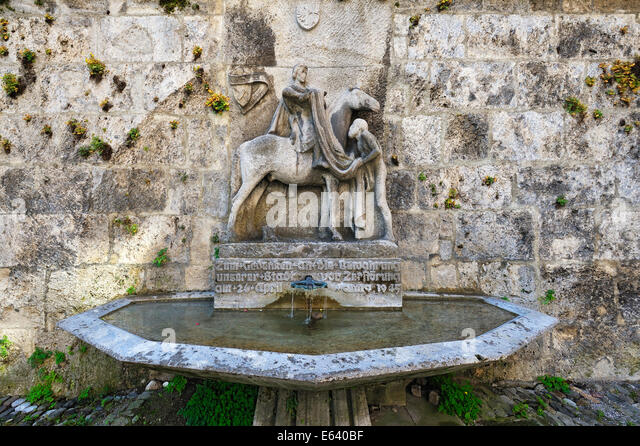 Fountain to commemorate that the city was saved from destruction in 1945, Memmingen, Allgäu, Bavaria, Germany - Stock Image