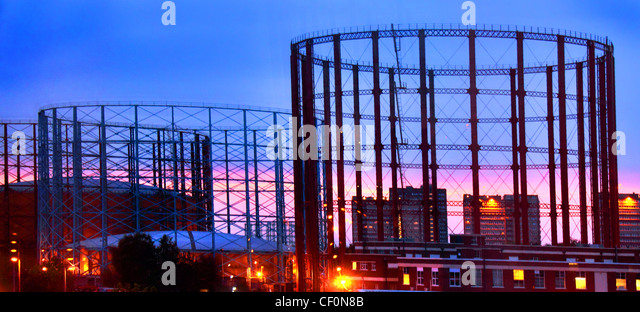 Gasholders at Aston, Birmingham, West Midlands, United Kingdom at Dusk - Stock Image