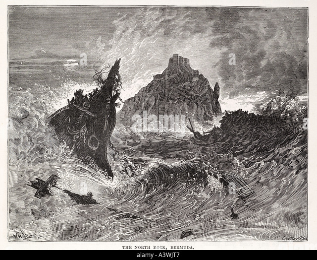 bermuda north rock Caribbean West Indies storm tempest waves wreck smash destroy sink sail boat ship loss run aground - Stock Image
