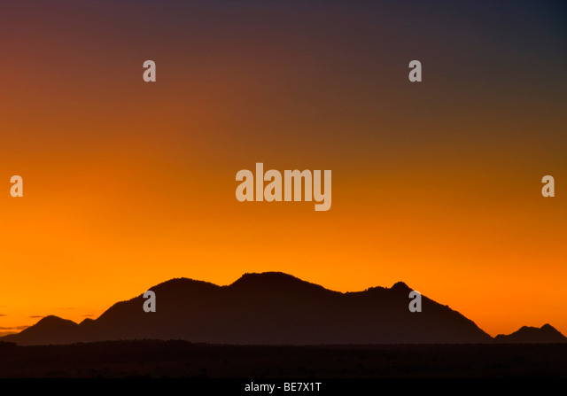 Dawn over Kidepo Valley National Park in northern Uganda. - Stock Image