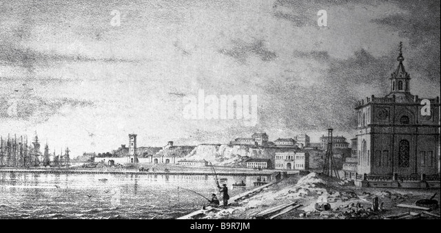 Odessa Embankment 19th century print reproduction - Stock Image