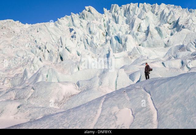 EUROPE ICELAND TRAVEL VATNAJOKULL GLACIER VIRKISJOKULL GLACIER - Stock-Bilder