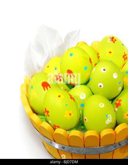 Easter eggs with feathers isolated on white background - Stock Image