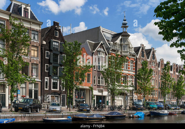 Amsterdam traditional architecture canalside houses Amsterdam, Netherlands - Stock Image
