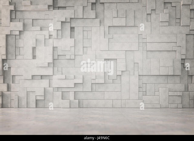 Abstract interior with a 3D wall pattern - Stock-Bilder