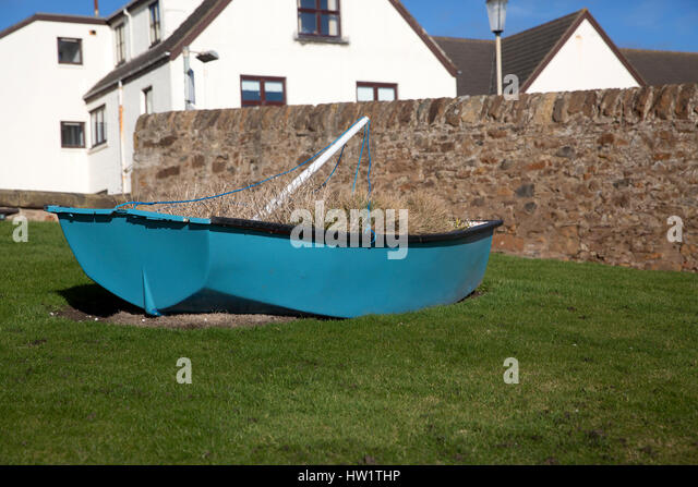 Blue wooden boat in Elie Scotland - Stock Image