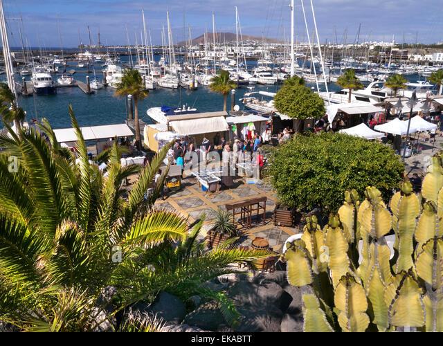 Marina Rubicon luxury marina with weekly market stalls Lanzarote Canary Islands Spain - Stock-Bilder