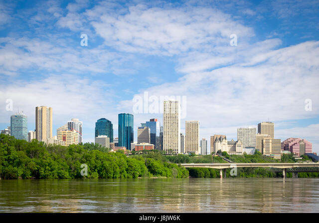 The skyline of Edmonton, Alberta, Canada, as seen from the North Saskatchewan River. - Stock Image