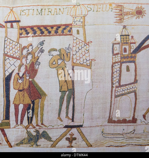 Detail of the Bayeux Tapestry depicting the appearance of Comet Halley before the Norman invasion of England in - Stock Image