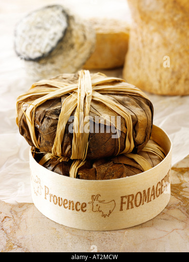 French Bannon soft goats cheese from  Provence  in leaves in a cheese shop setting. - Stock Image