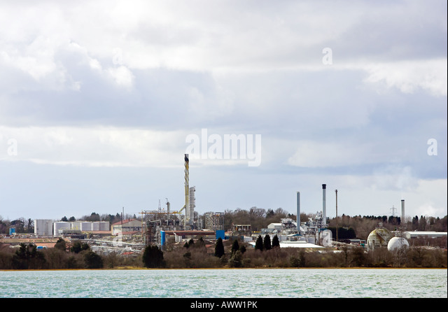 Fawley Oil Refinery photographed from Southampton Water - Stock Image