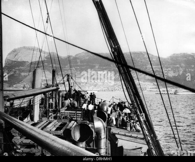 SS Saxon off Gibraltar, WW1 - Stock-Bilder