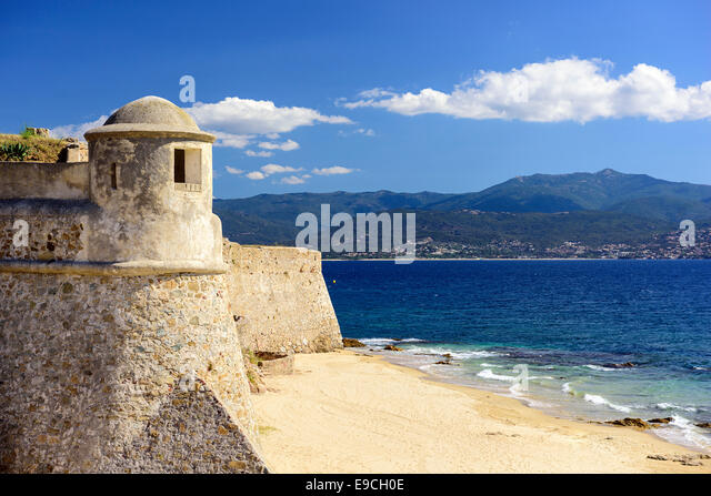 Corsica, France Citadel Miollis on the Beach. - Stock Image