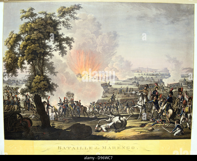 Napoleon at the Battle of Marengo, 14 June 1800. French forces under Napoleon defeated Austrians. Engraving - Stock Image