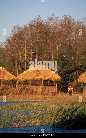 Florida Seminole indian  traditional Indian chickees thatch roof architecture dwelling old style home - Stock Image