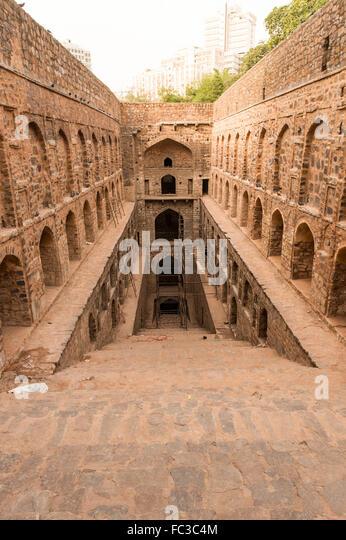Underground step-well Ugrasen ki Baoli in heart of New Delhi, India. 14th Century AD. - Stock Image