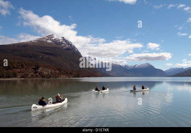 Canoeing at Tierra del Fuego National Park, near Ushuaia, Argentina, South America - Stock Image