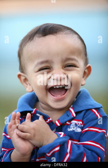 A 3 year old cheerful indian boy - Stock Image