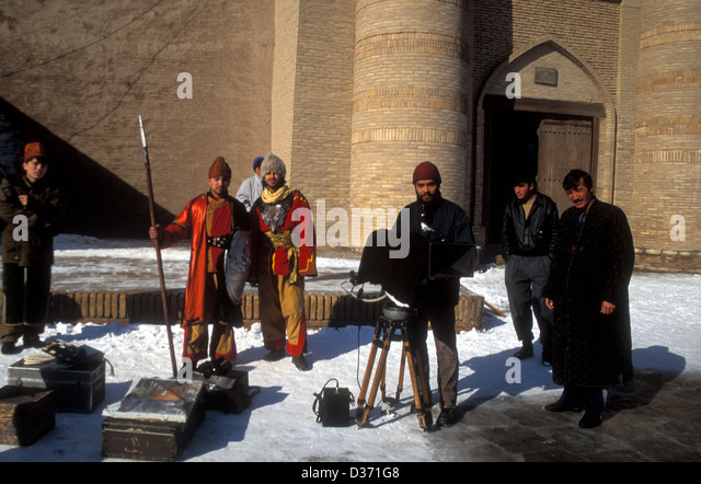 Shooting a movie in Khiva, Uzbekistan - Stock Image