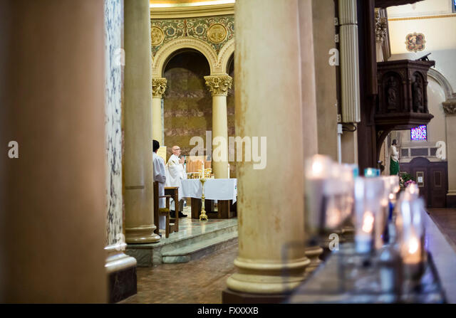 Detroit, Michigan - Sunday mass at Most Holy Redeemer Catholic Church. - Stock Image