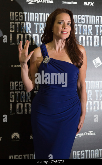 Destination Star Trek, Convention at the ExCel Exhibition Centre in London, actress Chase Masterson - Stock Image