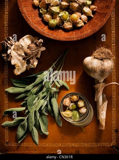 Sage, garlic, tomatillos and mushrooms - Stock Image