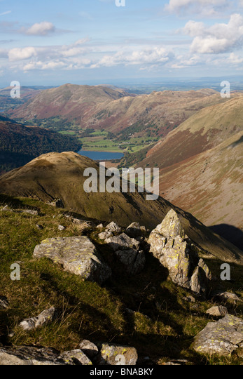 Patterdale from summit of Red Screes. - Stock Image