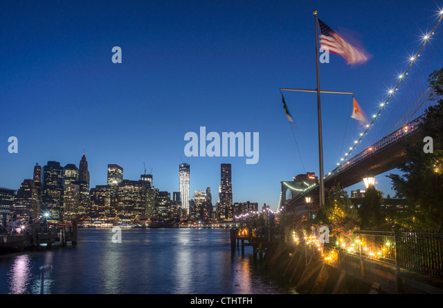 River Cafe at Brooklyn Bridge, New York city, USA - Stock Image