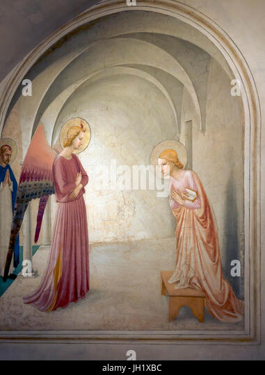 The Annunciation, Cell 3, by Fra Beato Angelico, 1440-1442, Convent of San Marco, Florence, Tuscany, Italy, Europe - Stock Image
