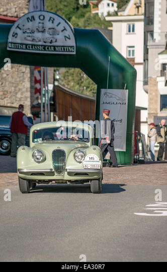 Jaguar Daimler vintage car at the start of annual the British Classic Car Meeting 2014, St.Moritz, Switzerland. - Stock Image