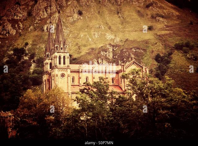 View of the Basilica in Covadonga, Asturias - Spain - Stock Image