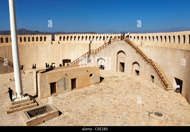 The gunnery platform in Nizwa Fort in Oman. - Stock Image