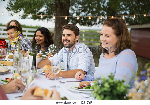 Friends gathered at outdoor dinner party - Stock-Bilder