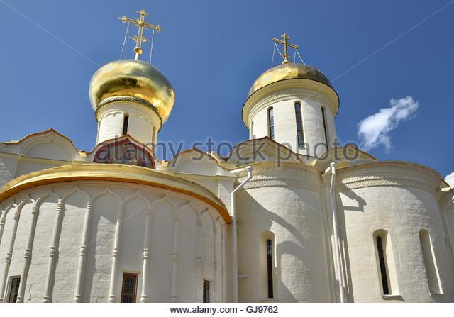 The Cathedral of the Holy Trinity St. Sergius Lavra. The Shrine of all Christians. The center of pilgrimage of the - Stock Image