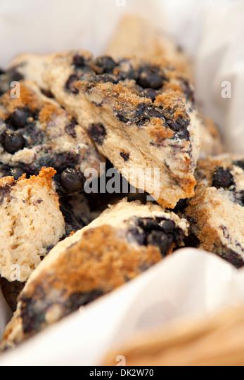 Close up of fresh baked blueberry scones - Stock Image