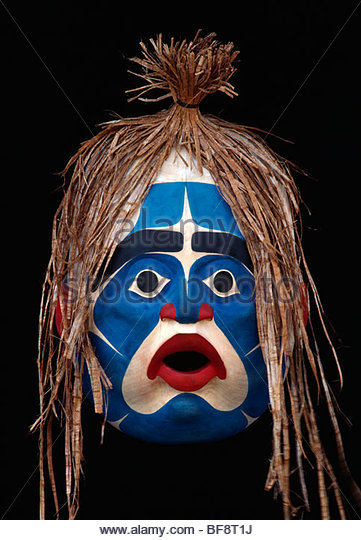 Eagle mask carved by Tim Paul, Nuu-Chach-Nuhtl, British Columbia, Canada - Stock Image