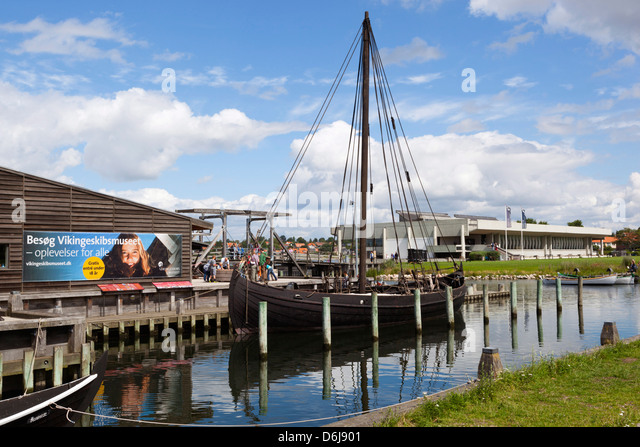 Viking age replica ship and Viking Ship Hall, Viking Ship Museum, Roskilde, Zealand, Denmark, Scandinavia, Europe - Stock Image